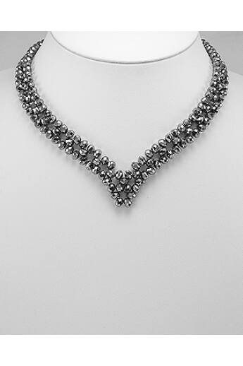 Kristályüveg nyaklánc - silver