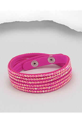 Pink kristályüveges bőr karkötő