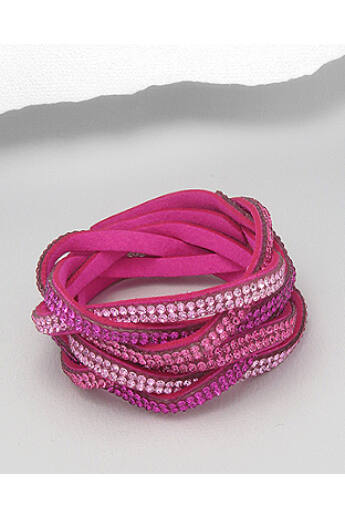 Fonott, kristály karkötő - pink