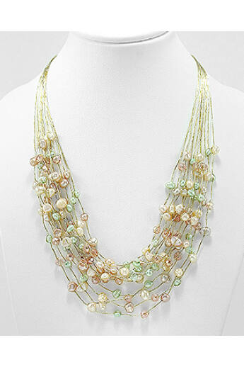 Kristály-gyöngy nyaklánc - beige-zöld