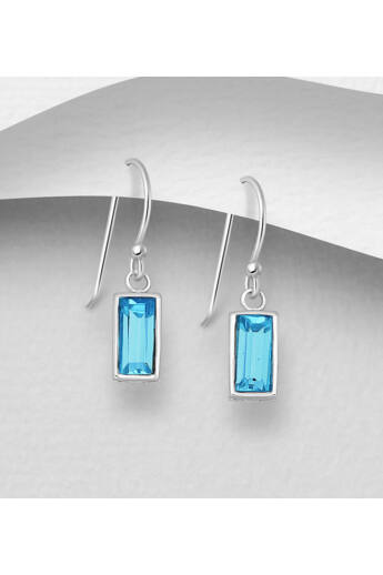 Swarovski kristályos ezüst fülbevaló - light blue