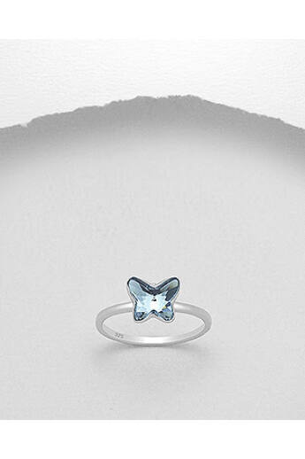 Swarovski kristályos ezüst gyűrű (17 mm) - montana blue
