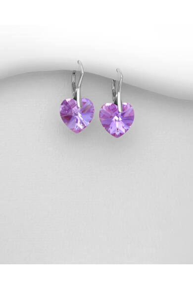 Viola színű szives Swarovski fülbevaló