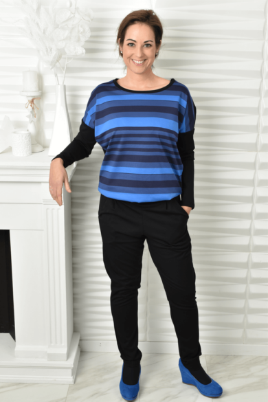 kék csíkos overall