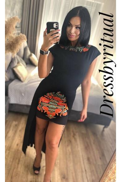 bonita uszályos fekete ruha - dressbyritual