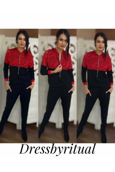 piros-csipkével-díszített-fekete-overall-dressbyritual